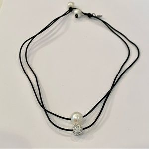 Marvella Pearl and crystal ball layer leather cord